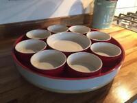 House of Fraser lasy Susan dinner buffet bowls on spinning wheel
