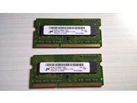 8GB (2X4GB) Micron DD3 1Rx8 PC3L-12800S Laptop RAM Memory Module