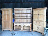 Georgian antique pine dresser, larder, and corner cupboard.