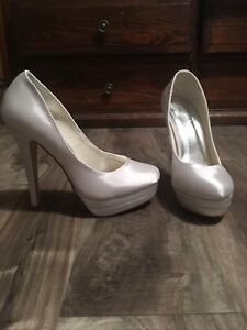 White Satin Stiletto Heel-Wedding and/or dye-able