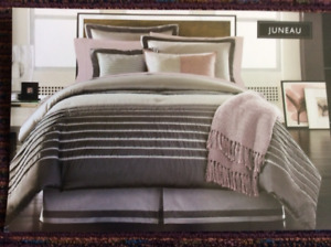 4 Piece Grey King Comforter Set, and Accessories