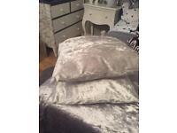 "Gorgeous 16"" crushed velvet cushions with padding"