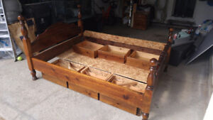 Queen Sized Water Bed Frame (Chestnut Finish)