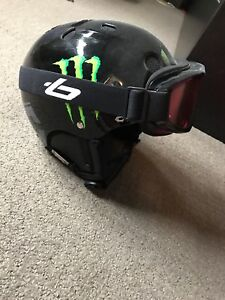 Snowboarding helmet and goggles