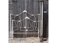 """ANTIQUE FRENCH METAL 4'-0"""" BEDSTEAD"""