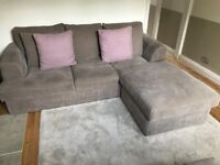 Sofa and footstall for sale. Next bought grey L shape sofa and storage footstall. Superb condition.