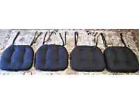 4 Black Seat Cushions, Hardly Worn & Excellent Condition!