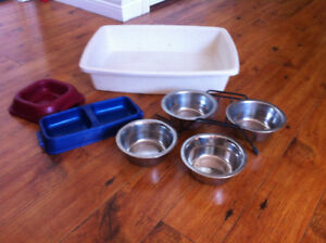 Dishes and litter box