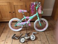 Raleigh kool miss children's bike with stabilisers good condition