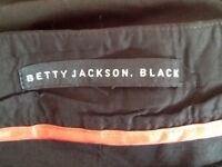 Betty Jackson Black long 100% cotton skirt size 10 as New
