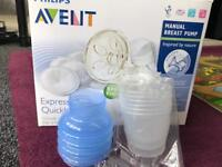 Avent manual breast pump in box plus storage cups
