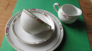 Nippon china cups, saucers and plates; Creamer