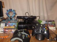XBOX 360 S Console 250GB HD Kinect with 4 controllers, twin docking station and 12 games