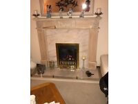 Marble & wooden fire surround and hearth