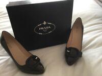Brown patent Prada heels