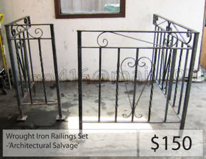 = = Architectural Salvage: Wrought Iron Railings (x2) = =