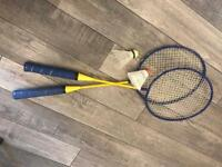 Badminton rackets with shuttlecocks