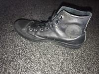 Black leather high converse shoes