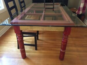 Wood & Glass Dining Room Table