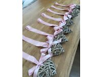 Wicker hearts with blush pink ribbon