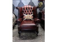 Stunning Chesterfield Queen Anne Wing Back Chair Oxblood Red Leather - UK Delivery