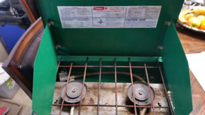 Two Burner Coleman Propane Camp Stove  Works great comes with ho