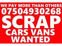 07504930268 sell your car van motorcycle for cash scrap non runners mot failures X