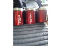 Red kitchen cannisters