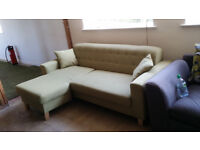 New GRADED Small Corner Sofa Chaise Sofa Apple Green Fabric FREE Local Delivery