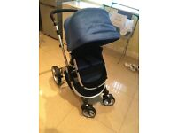3 way travel system pushchair blue and black