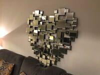 NEW Large Heart Wall Mirror 100cm x 100cm Modern Designer Big RRP £250 Fireplace Lounge Hall Bedroom