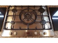 Stoves 5 burner gas hob, 700 wide Stainless steel with cast iron supports