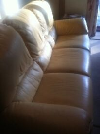 TANE LEATHER THREE PIECE SUITE.