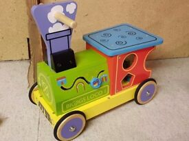 Bigjigs Toys Colourful Wooden Train Ride On Toy