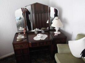 Traditional Style Bedroom Dresser in dark hardwood with Vanity Mirror