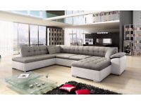NEW SCAFATI FABRIC & FAUX LEATHER CORNER SOFA WITH BED IN BLACK GREY OR WHITE GREY