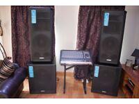 QSC HPR153F, QSC HPR181W, Allen & Heath PA20, Mixing desk, PA, Audio System MINT Condition