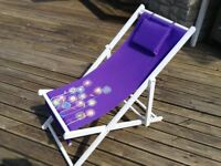 2 X purple folding deckchairs with headrest new in box