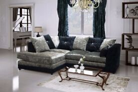 NEW GERMAN DESIGN 💖💖 Double Padded Dylan Crushed Velvet Corner Sofa Or 3+2 Sofa Suite