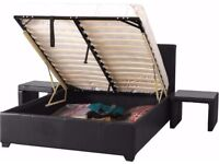 (35%) DISCOUNT ON GAS LIFT UP DOUBLE OTTOMAN STORAGE BED FRAME ( BLACK,BROWN & WHITE )