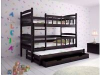 Brown Triple Wooden Bunk Bed for Kids made of Solid Wood 3 free mattress