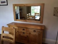 Large Mirror With Golden Coloured Oak Frame
