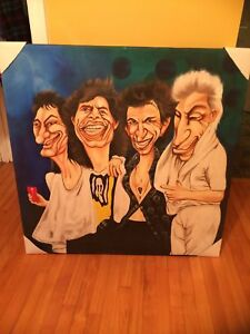 "Large 39"" x 39"" Rolling Stones Music Acrylic Artwork Painting"