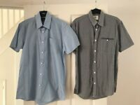 "2 x men's short sleeved shirts - 15"" collar and small"