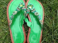 Beaded and jewelled flip-flop sandals from Bali, brand new, size 5