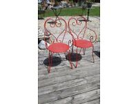 2 X VINTAGE FRENCH METAL STACKING GARDEN CHAIRS ARMCHAIRS PATIO CONSERVATORY GARDEN GOOD CONDITION
