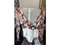 White and rose gold sequin Bodysuit