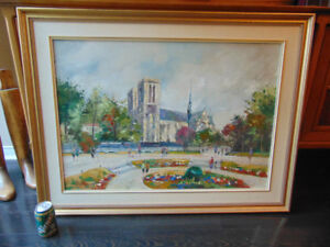 """Large 41"""" x 31"""" Original Oil Painting. Notre Dame Cathedral"""