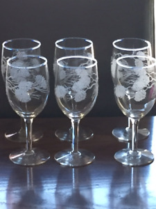 6 beautiful Christmas etched wine glasses  for sale