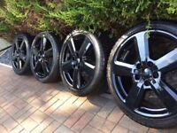 """4x Genuine Audi 18"""" S Line Alloy Wheels & Tyres RS6 A3 A4 A6 VW Seat Gloss Black"""